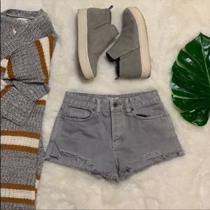 Free people grey Distressed hi waisted shorts  26